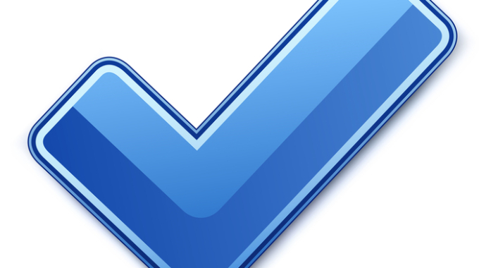 Blue check mark. Vector illustration