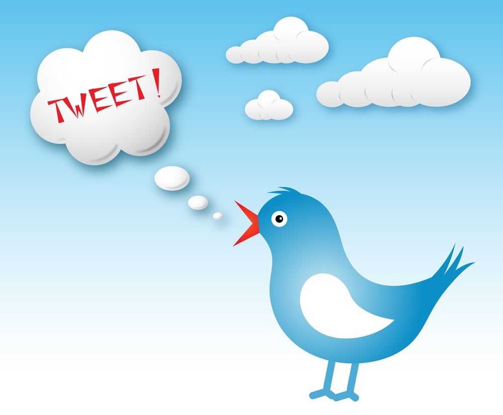 Blue twitter bird and text cloud with tweet against blue sky