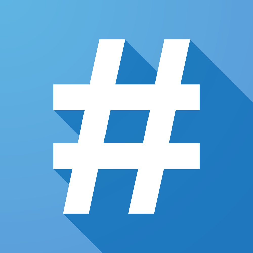 Illustration of a long shadow icon with a hash tag