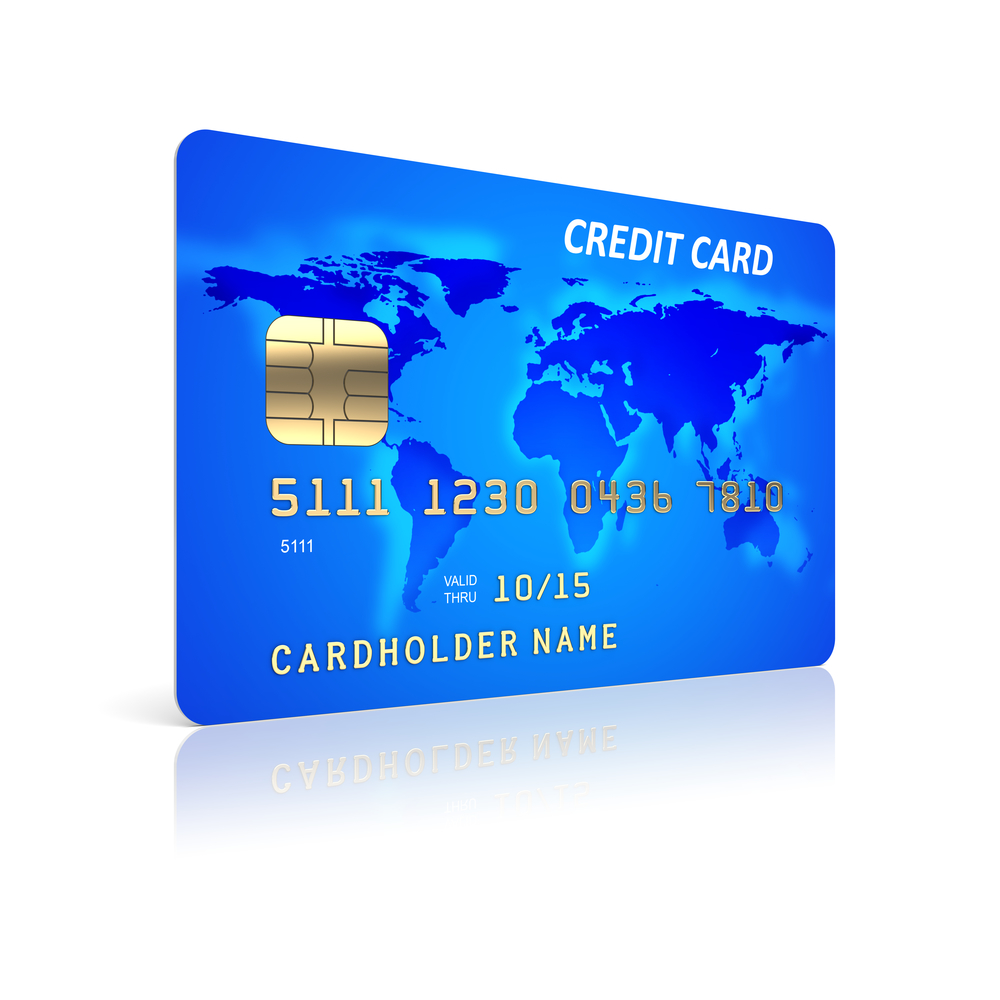 Blue credit card on a white background. 3d illustration