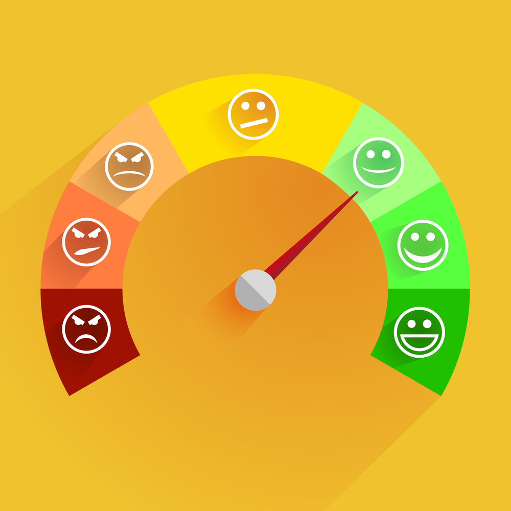 detailed illustration of a customer satisfaction meter with smilies