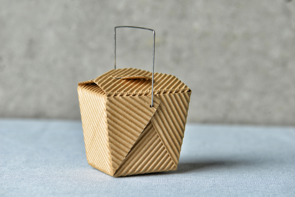 """Image of a generic """"to go"""" box made of recycled brown cardboard"""