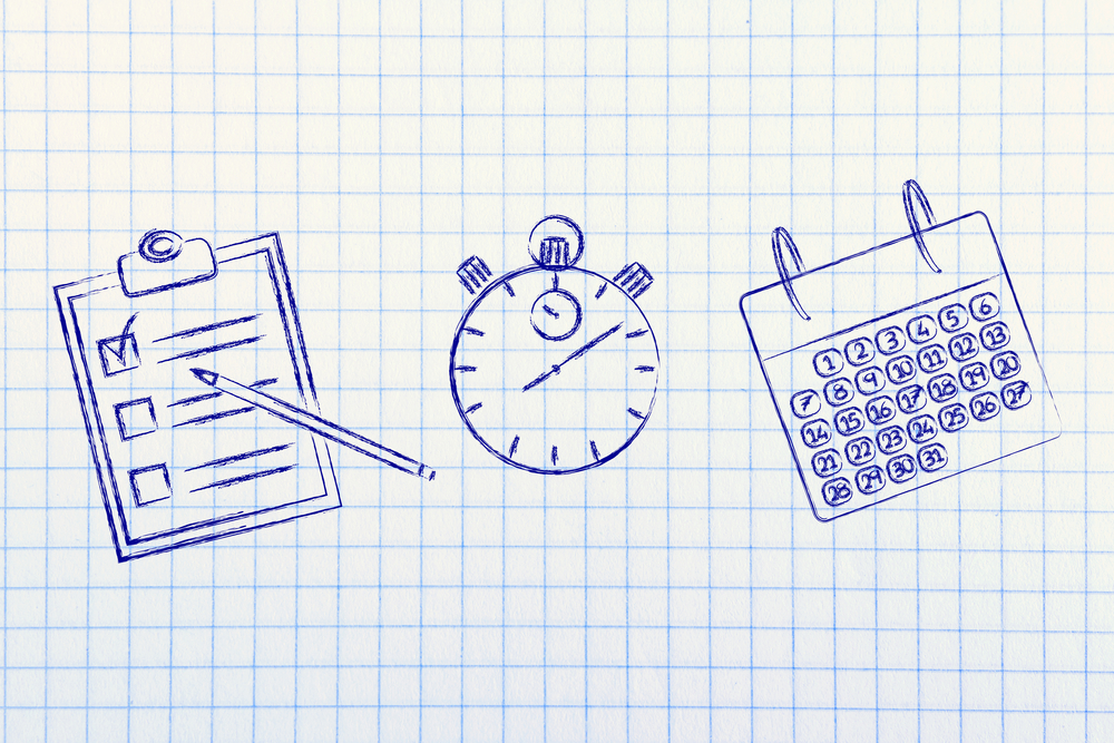 Scheduling and organizing your tasks and business: stopwatch, to do list and calendar