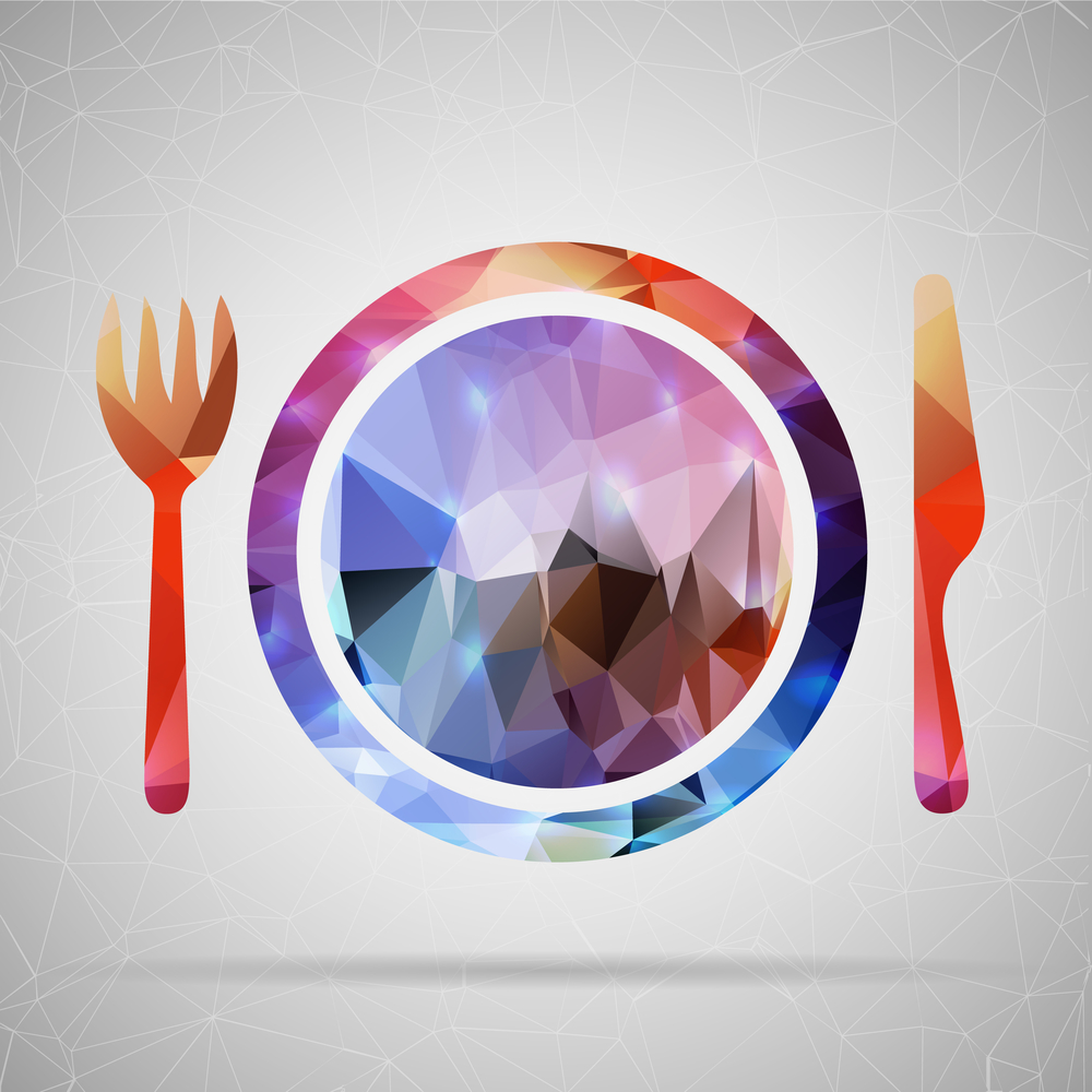 Abstract Creative concept vector icon of plate with knife and fork for Web and Mobile Applications isolated on background. Vector illustration template design, Business infographic and social media.