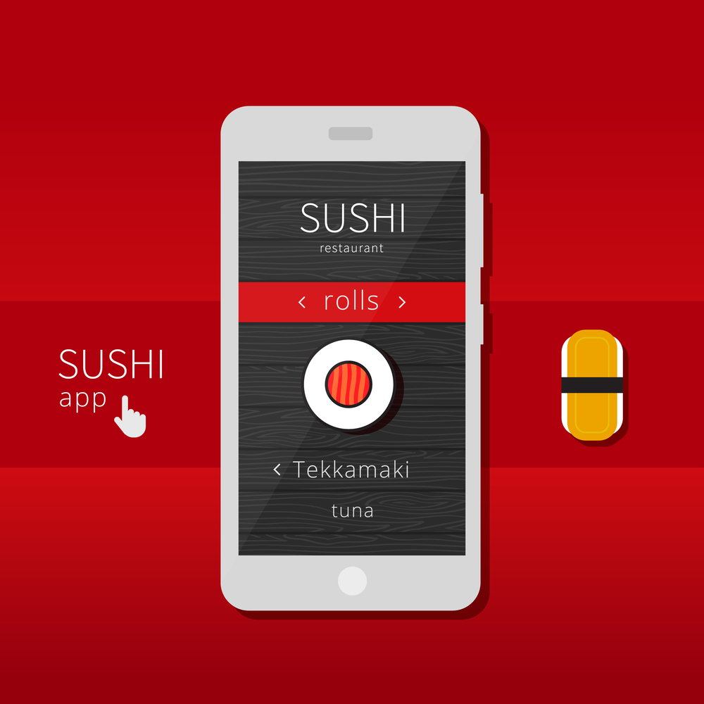 Mobile application for sushi restaurants. Smartphone and sushi roll.