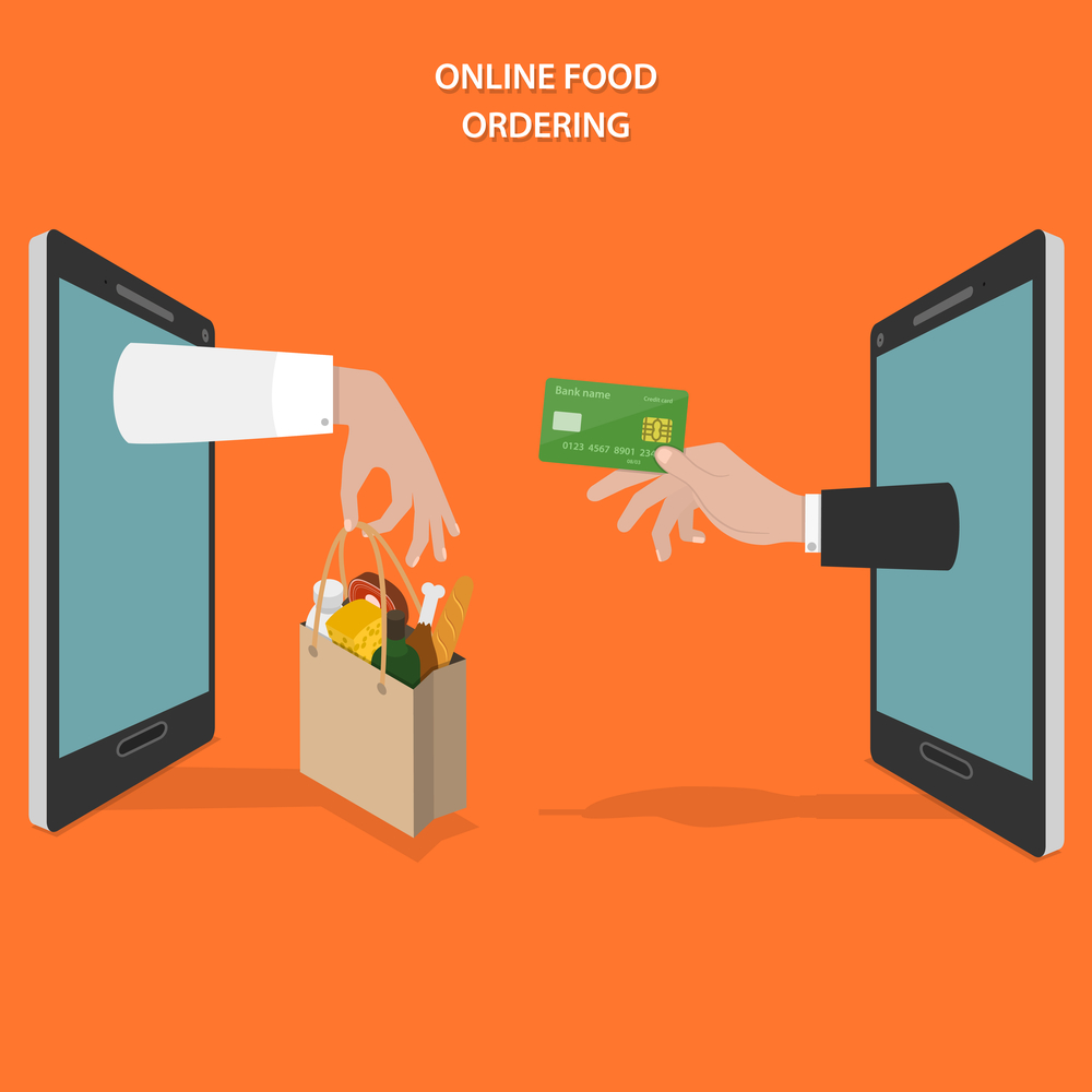 Online food ordering flat vector concept. Hands of delivery man and customer appear from smartphone screen.