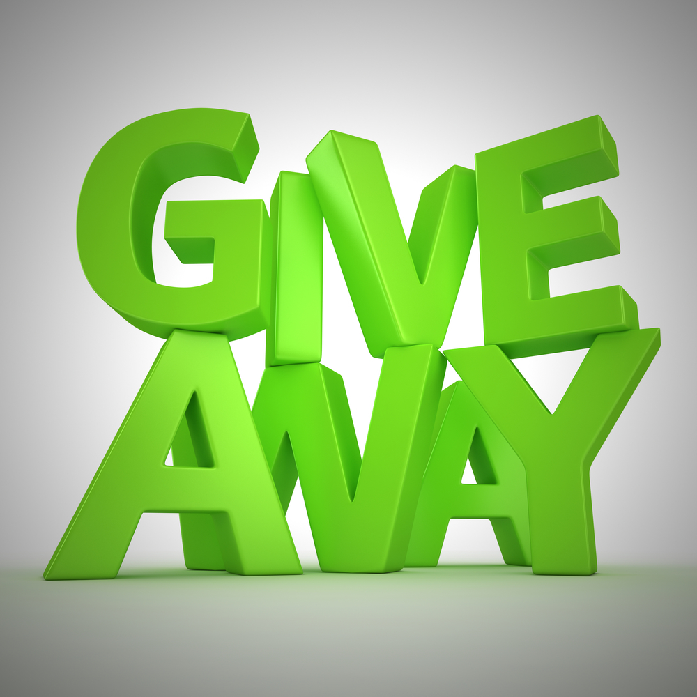 "Text ""Giveaway"" made from green letters"