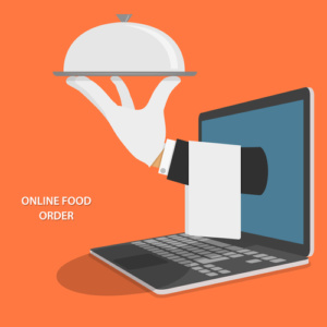 Online Food Delivery Isometric Flat Vector Concept. Hand Of Water With Dish And Towel Appeared From Laptop.