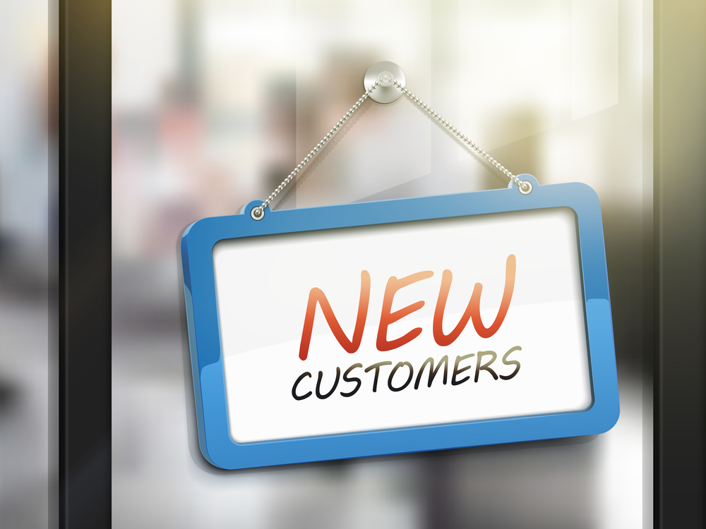 new customers hanging sign, 3D illustration isolated on office glass door
