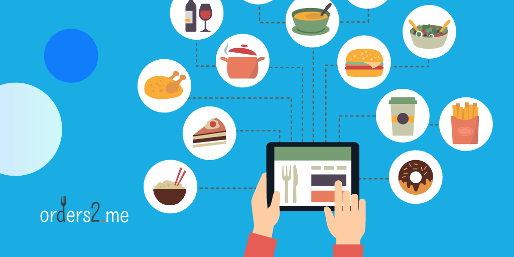 Ordering various food online via tablet
