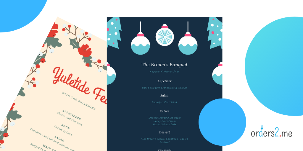 festive Christmas menu templates